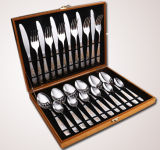Flatware нержавеющей стали 24PCS установленный/Cutlery установленный с шикарным пакетом деревянной коробки