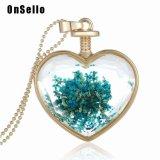 Ожерелье Locket сердца высушило шкентель отрезока цветка граненный стеклом с длинней цепью цвета золота для женщин