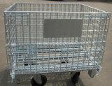 De gevouwen Kooi Op wielen van de Opslag van de Kar/reed de Container van het Netwerk van de Draad