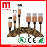 Micro USB cable de carga de tejido trenzado tejida cable de sincronización de datos para Samsung