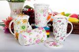 Fábrica directamente SAE 13oz tazas de cerámica manejar calcomanía con tapa y cuchara