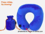 Almohadilla inflable del cuello del cuello del pulsador de la dimensión de una variable de U de la almohadilla del aeroplano de la prensa inflable del recorrido