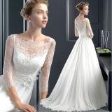 A - ligne robe de mariage plissée par chemises de bouton de lacet avec la fleur