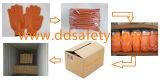 La stringa arancione pesante ha lavorato a maglia il reticolo del pettine del miele del PVC guanto Dkp202 del lavoro di entrambi i lati