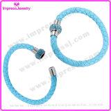 Bracelet magnétique d'agrafe de boule de cristal de bracelet en cuir magnétique d'acier inoxydable