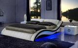 Base blanca del cuero genuino del dormitorio casero con la luz del LED (HC568)