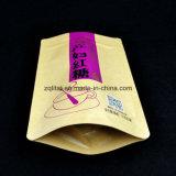 Customziedクラフトの印刷は3つの層がジッパーが付いている赤い砂糖のパッケージのための直立したポリ袋を薄板にしたジッパーの袋を立てる