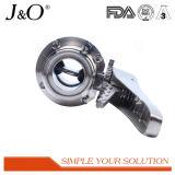 Válvula de borboleta sanitária da braçadeira com punho dos Ss
