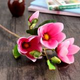 Fleur artificielle de magnolia avec 3 têtes pour la maison/mariage/décoration de jardin (SF15621)