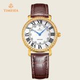 Runde Vorwahlknopf-Form-lederne Brücke-Luxuxfrauen-Uhr-Quarz-Uhren mit Diamonds71092