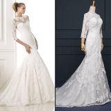 Elegant Lace Tulle 3/4 Sleeve Mermaid Wedding Dresses (TM-mm004)