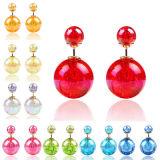 Earings für Frauen-Mädchen-Doppeltes versah Enden-Stift-Ohrring der Farben-Kristallkugel-zwei mit Seiten