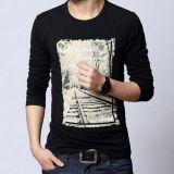 남자의 면 또는 많은 저어지에 의하여 인쇄되는 긴 소매 t-셔츠