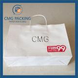 Sac blanc estampé par coutume de papier d'emballage avec l'impression de logo