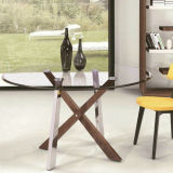 Table en acier inoxydable Leg et High Gloss Dining Table A289 #