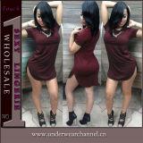 Vestido curto curto sem mangas de alta qualidade com mangas curtas (22609)