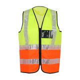 Gilet r3fléchissant de sûreté de vêtements de travail élevés de visibilité avec la poche noire