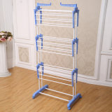 6.2kg Promotion Three Layer Blue Color Clothes Drying Rack com Roda e Suporte Foldable Jp-Cr300W