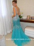 Blaues Kristall-Abschlussball-Kleid-Tulle-blosse bördelnde Partei-Abend-Kleider Z1016