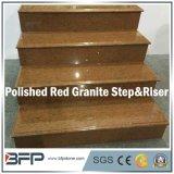 Polished лестницы камня/гранита Chiese красные естественные/Tread&Riser для крытого пола