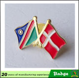 Emblemas feitos sob encomenda do Pin da bandeira do dobro do metal