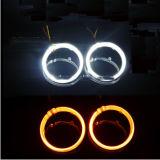 ヘッドライトの改良キット80mm昼間及び回転シグナルライトのための95mm白こはく色の二重カラーLED天使の目