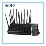 jammer Tabletop do sinal do telefone do VHF 3G da freqüência ultraelevada de WiFi Bluetooth GPS Lojack do poder superior 42W, GPS Bluetooth Lojack 3G 4G todo o jammer do sinal do telefone de pilha