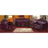 Ledernes Sofa mit hölzernem Sofa-Rahmen und Seiten-Tisch (929F)