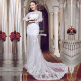 Real Photos Lace Long Sleeve Mermaid Wedding Dresses (TM-MS016)