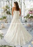 プラスのサイズはひもで締めるMoriリーのサテンのレースのテュルのオーガンザの花嫁衣装のウェディングドレス(夢100060)を