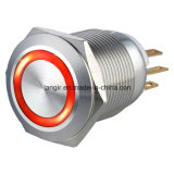 ring van 19mm verlichtte de Kortstondige Schakelaar van de Drukknop van de Auto van het Metaal 1no1nc Elektrische