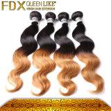 100%年のバージンのクチクラのRemyのモンゴルの毛はOmbre毛の織り方を着色した