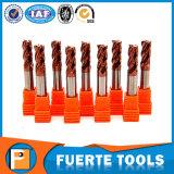 Moinhos de extremidade contínuos do carboneto de HRC 55 com 4 flautas