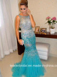 Vestidos de noite de perolização completos Z1016 do partido de Tulle do vestido azul do baile de finalistas dos cristais
