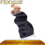 Fechamento natural novo liso elegante do Weave do cabelo de dois tons