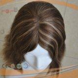 Moda a mano del pelo humano atado del cordón lleno peluca superior de seda