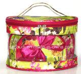 透過PVC防水ピンクの花柄旅行洗面用品の化粧品袋