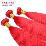 最上質カラー赤いペルーのRemyの毛の拡張