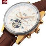 携帯用男性用手首の革ステンレス鋼の水晶腕時計