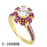 Ringen van CZ van de Ontwerpen van de Verlovingsringen van de Juwelen van de manier de Echte Zilveren Bloemen
