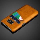 Caixa do couro traseiro de Hotselling com o entalhe de cartões para Samsung S7