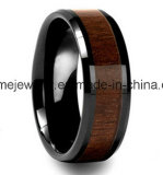 Anillo natural de madera del embutido del anillo del color del carburo de tungsteno