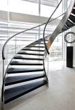 De moderne Spiraalvormige Trap met Marmeren Betreden Trap/boog de Trap van het Glas met het Traliewerk van het Glas