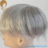 Système gris de rechange de cheveux humains de délié normal