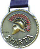 3Dロゴの骨董品の黄銅が付いているスパルタのための賞メダル