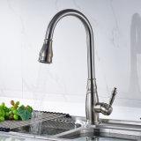 La singola maniglia estrae lo spruzzatore tir in giùare i rubinetti della barra della cucina