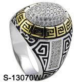 O ouro amarelo CZ de prata esterlina do anel 925 dos homens soa