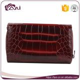 Роскошный кожаный бумажник, размер красного черного портмона неподдельной кожи крокодила малый