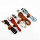 Cable de cuero colorido del USB del micr3ofono de la PU y cable de datos para el teléfono androide