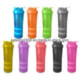 3 слоя бутылки воды Joyshaker бутылки трасучки протеина 600ml пластичной с шариком металла